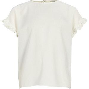 T-shirt blanc avec manches à volants pour fille