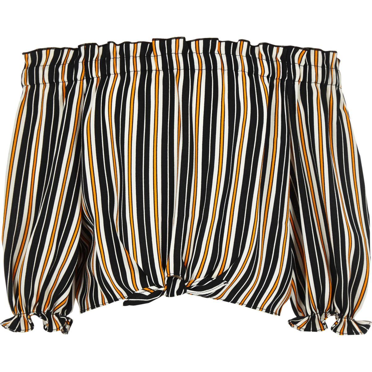 Girls navy stripe bardot tie front crop top