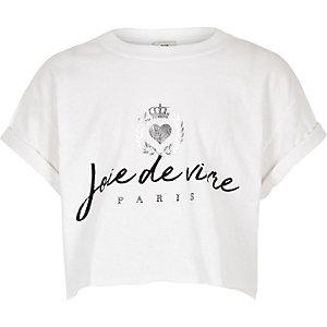 Girls cream 'Joie de vivre' crop top