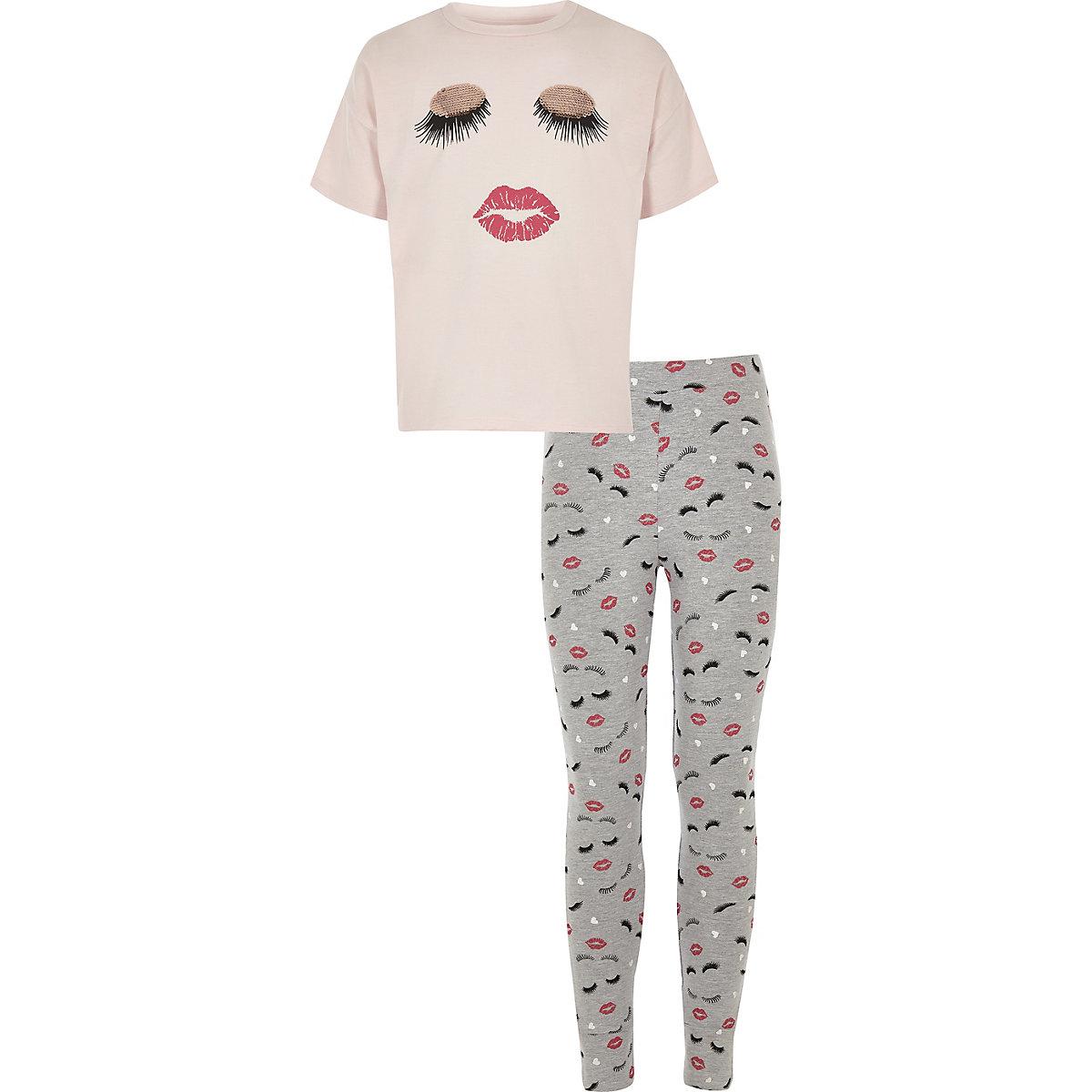 Girls pink eyelash and lips pyjama set