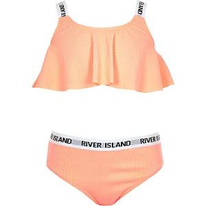 Bikini RI en maille côtelée élastique corail pour fille