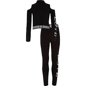 Outfit met zwarte crop top met 'Love'-print en legging voor meisjes