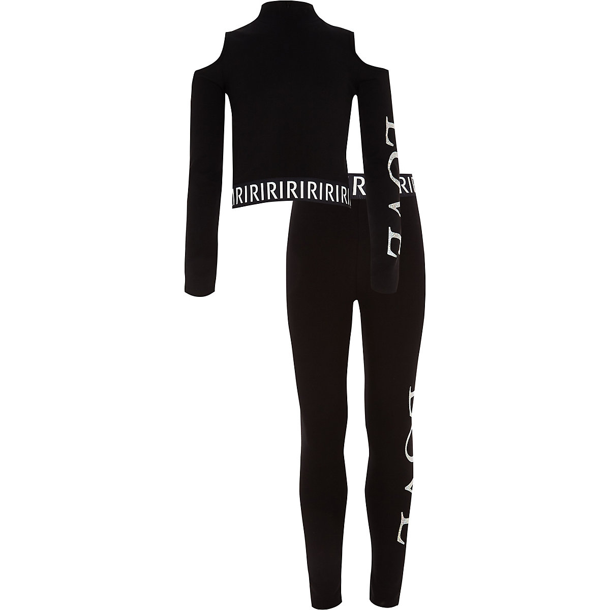 Girls black 'love' crop and legging outfit
