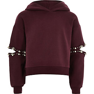 Girls purple pearl split sleeve hoodie