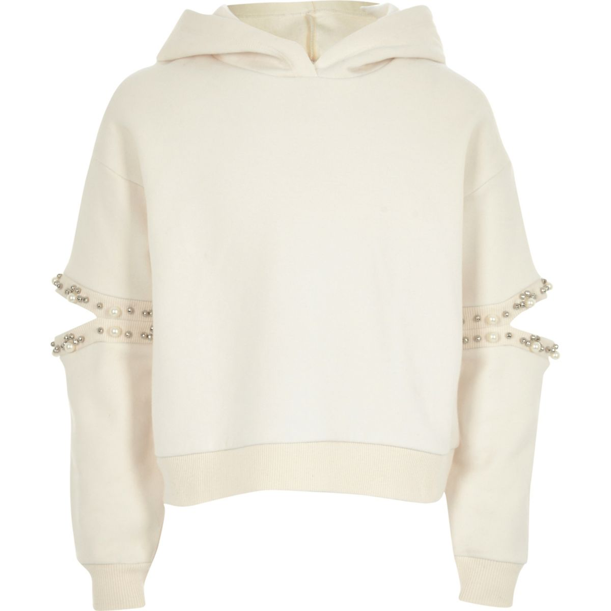 Girls cream pearl split sleeve hoodie