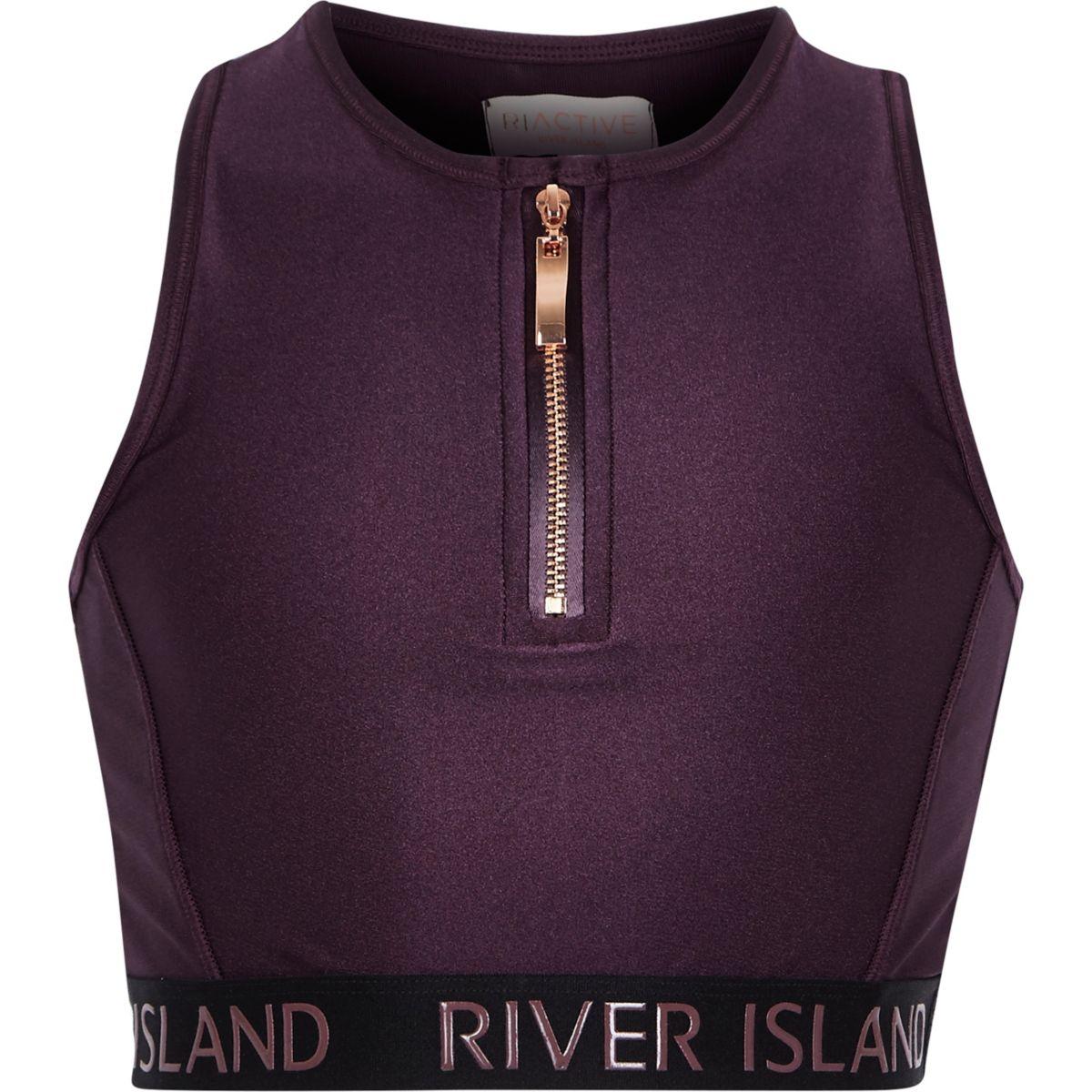 Girls RI Active purple zip front crop top
