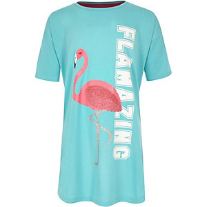 Girls blue 'Flamazing' flamingo print pyjama