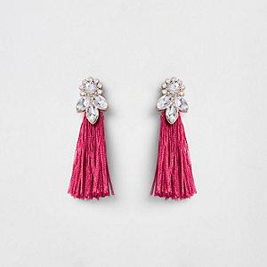 Boucles d'oreilles à pampilles roses et pierres fantaisie fille