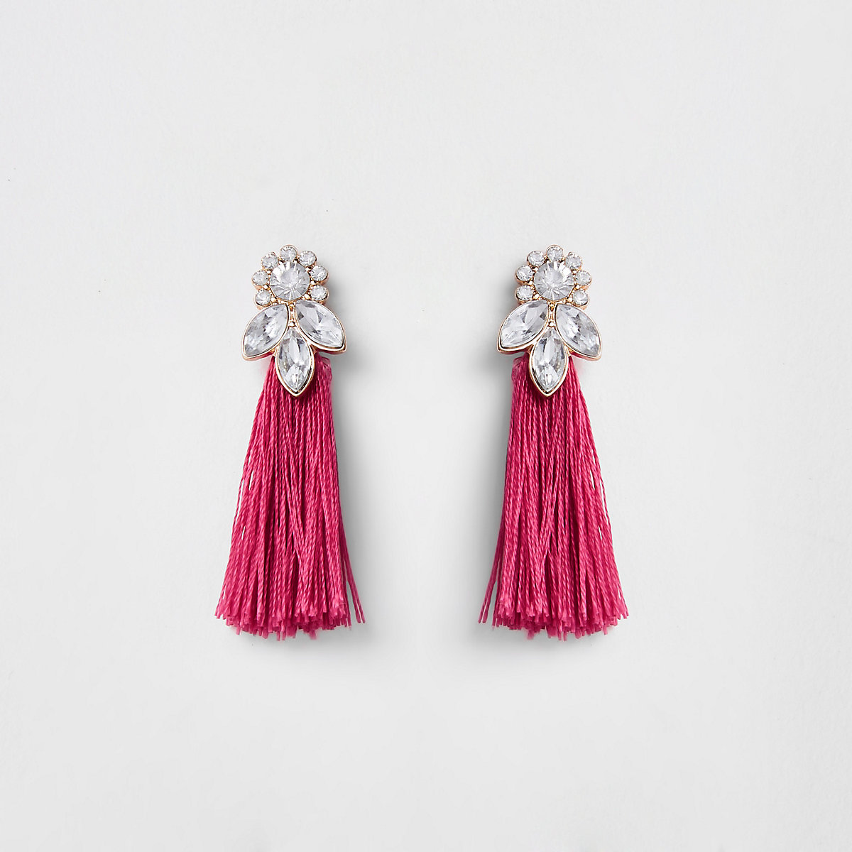 Girls pink tassel rhinestone jewel earrings