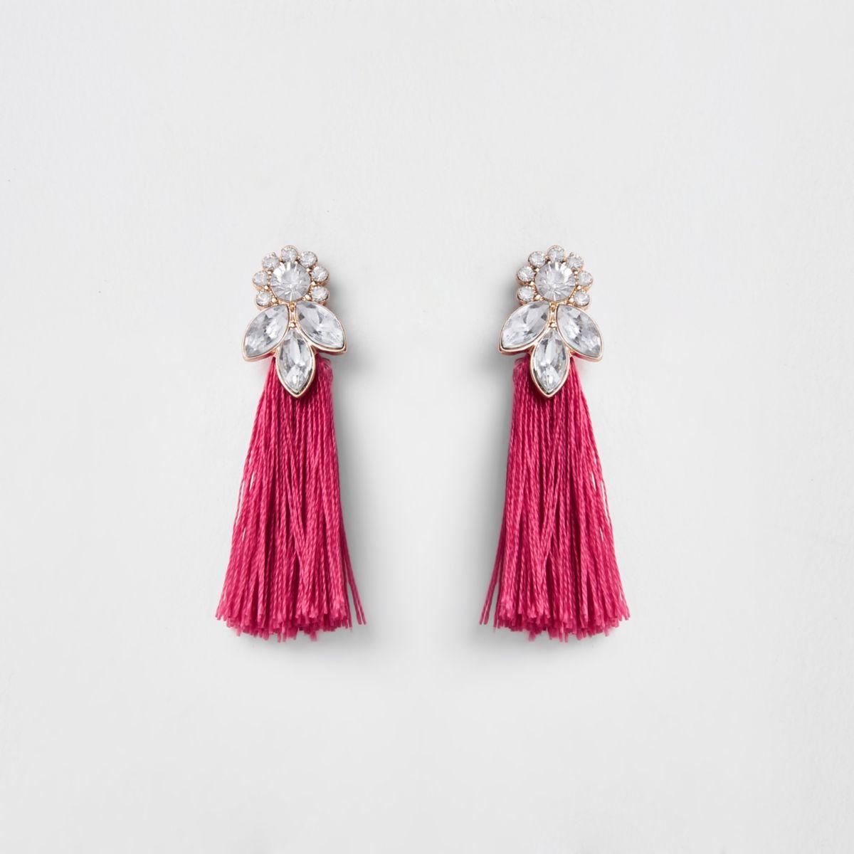 Girls pink tassel rhinestone jewel earrings