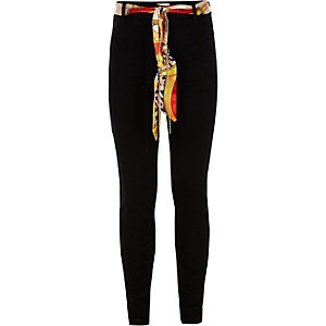Girls black Molly scarf mid rise jeans
