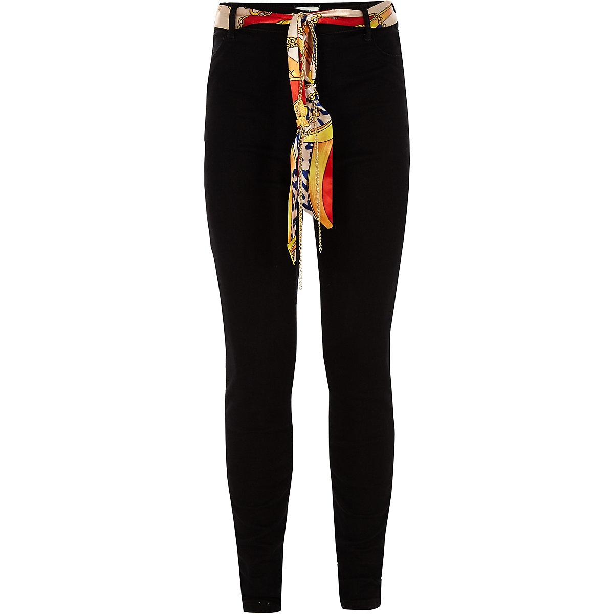 Girls black Molly scarf jeggings