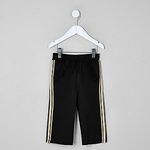 Mini girls black scuba frill tape joggers