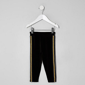 Samt-Leggings mit Goldband