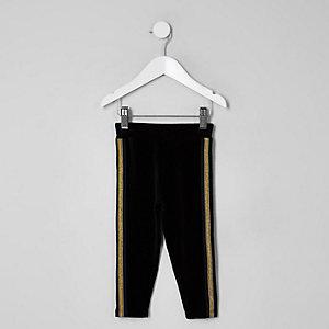 Legging en velours à bandes latérales dorées mini fille