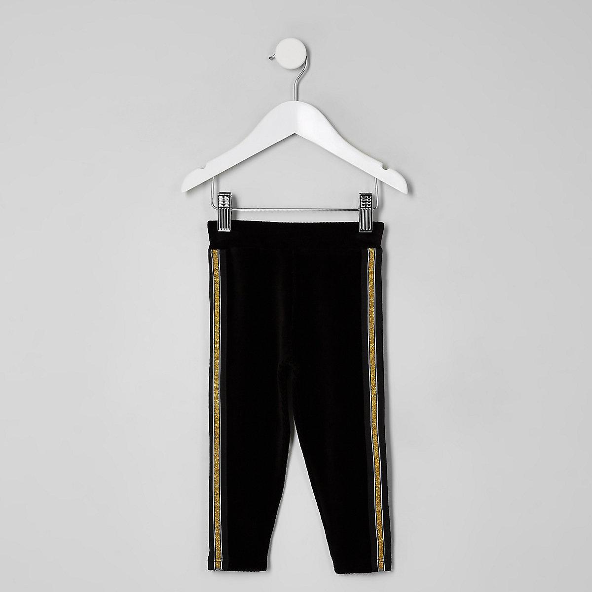 Mini girls velvet gold tape leggings