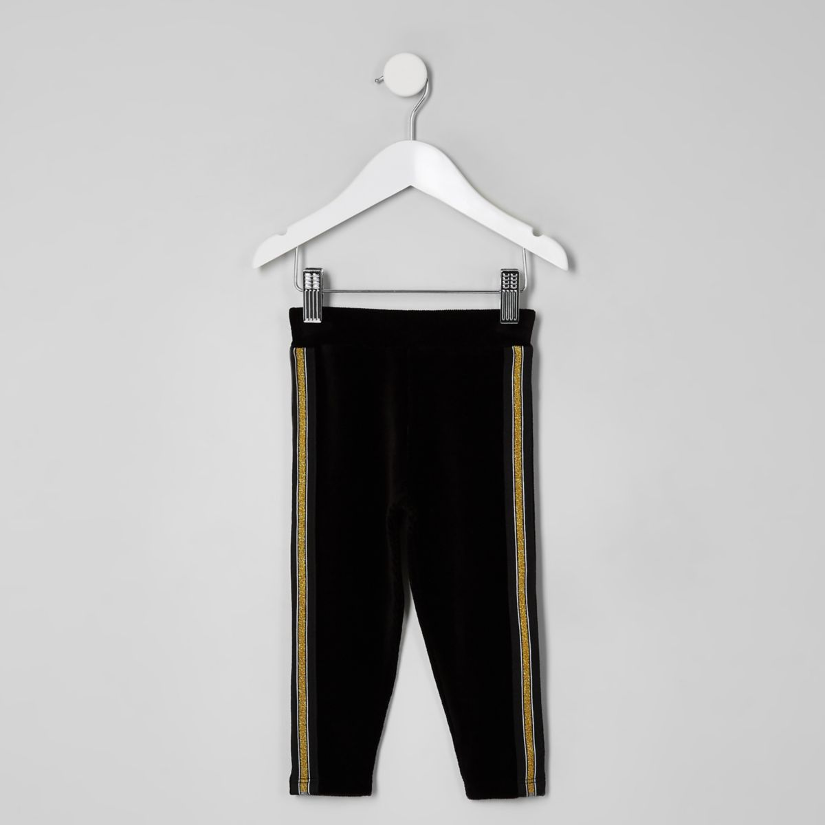 Mini girls velvet gold tape leggings