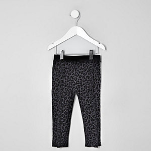 Mini girls black leopard flock print leggings