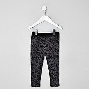 Mini - Zwarte legging met gevlokte luipaardprint voor meisjes