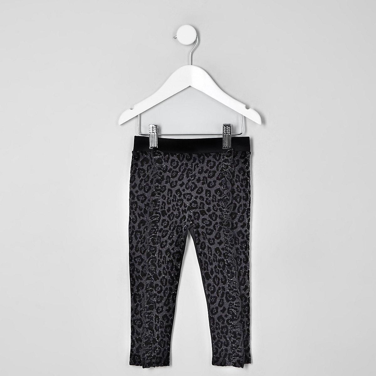 Mini girls black leopard flock print leggings