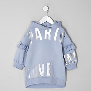 Mini girls blue 'Paris' hooded sweat dress