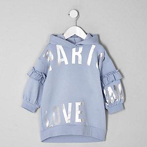 Mini - Blauwe sweatjurk met 'Paris'-print en capuchon voor meisjes