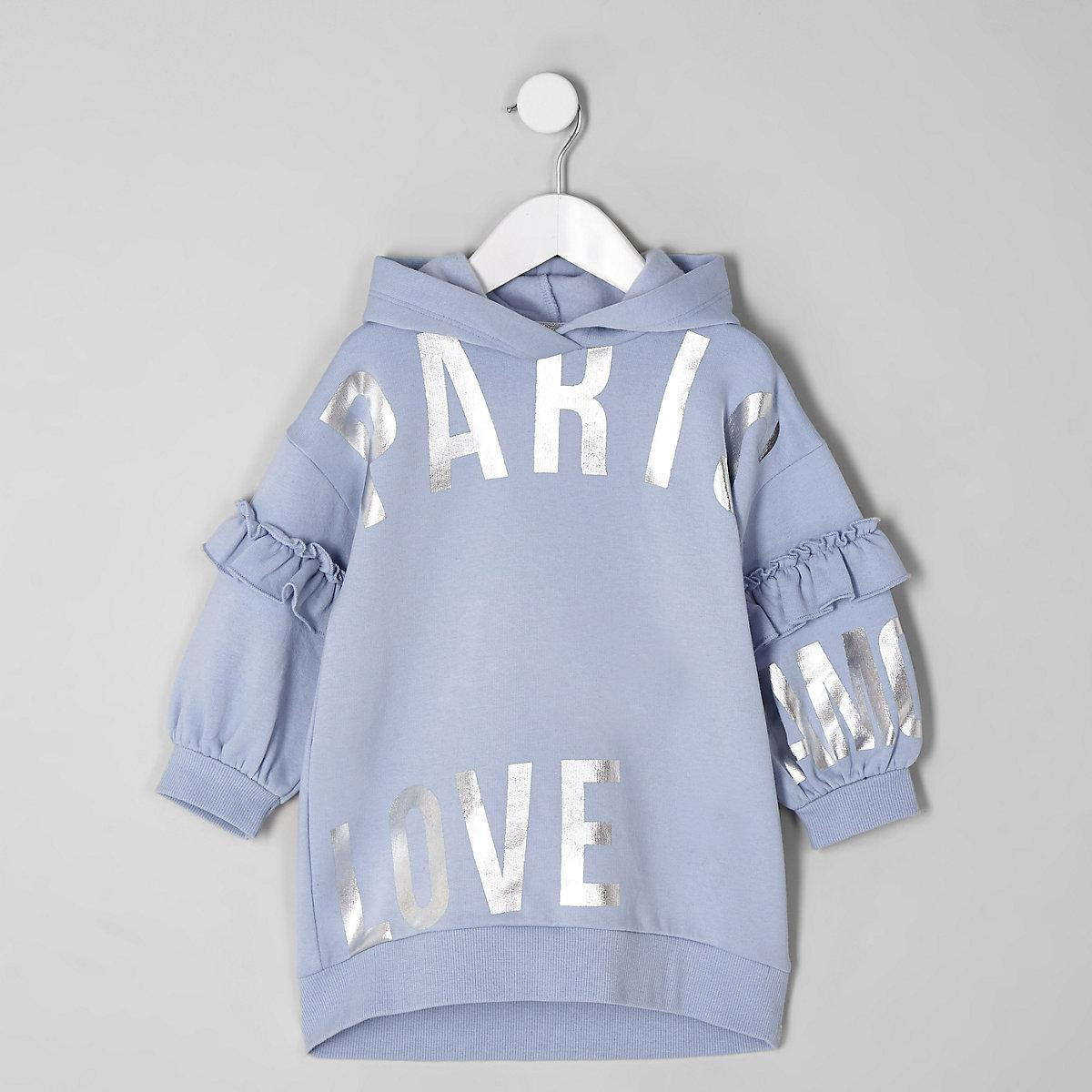 Mini girls blue 'Paris' hooded sweat dress