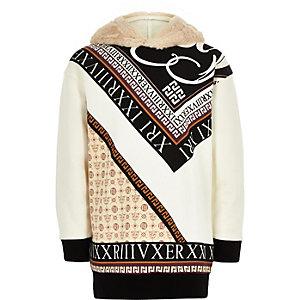 Girls black print faux fur longline hoodie