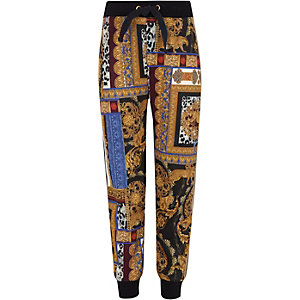 Girls black baroque print tape side joggers