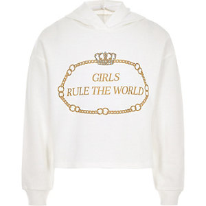 Girls white 'Girls rule the world' hoodie