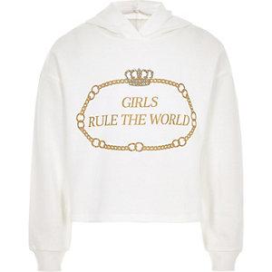 Sweat à capuche blanc Girls rule the world blanc