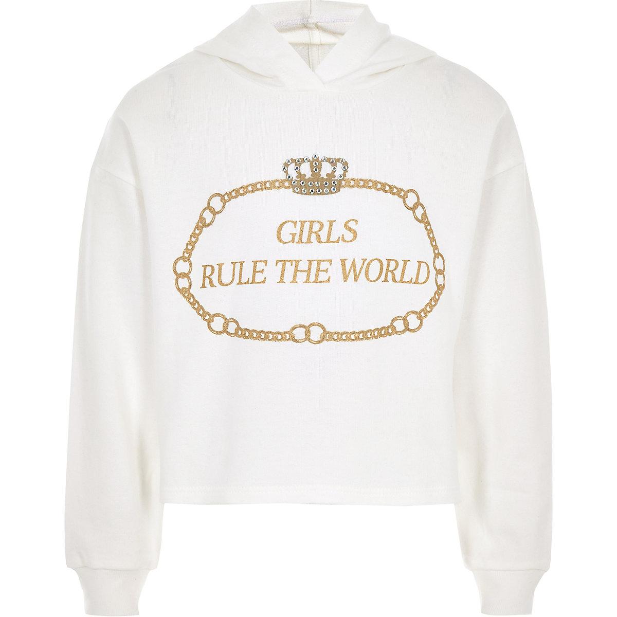 Girls white 'Girls rule the world' hoodie