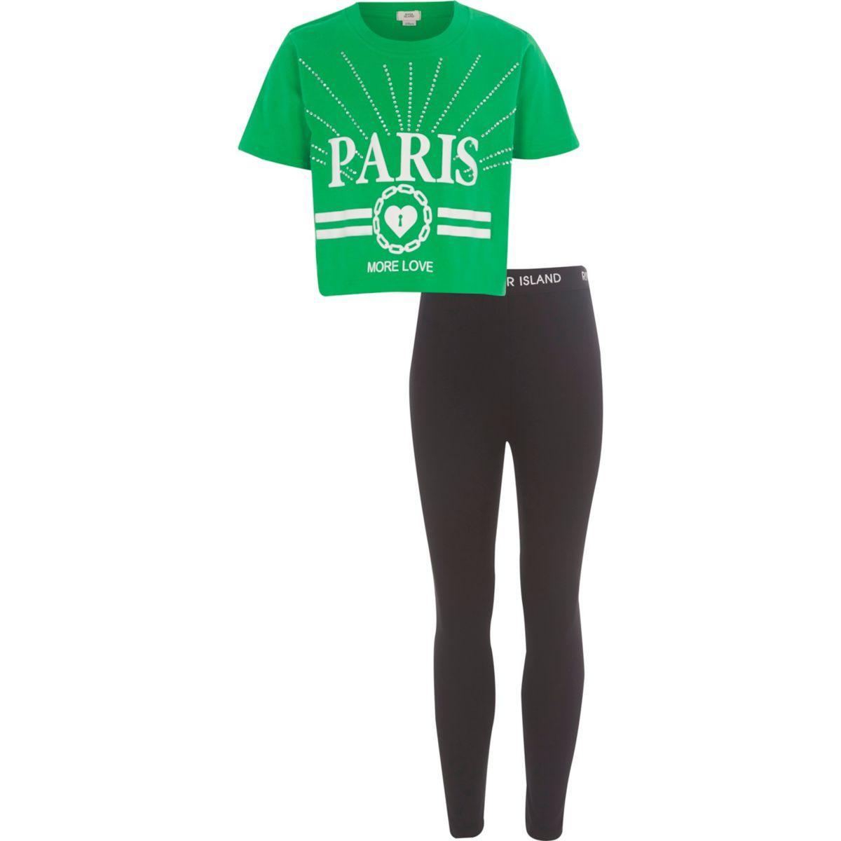 Girls green 'Paris' crop T-shirt outfit