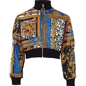 Jacke mit Reißverschluss und Barockprint