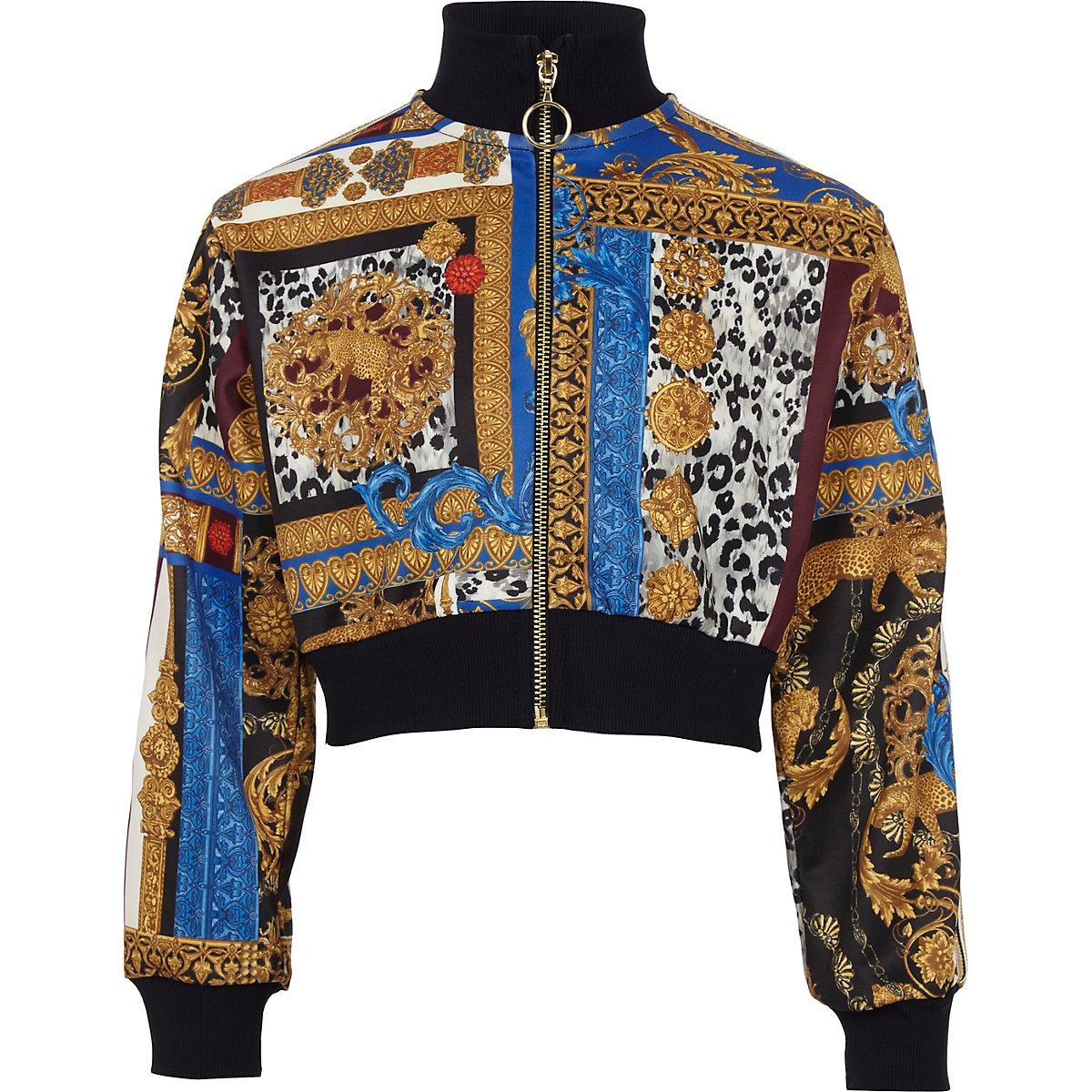 Girls baroque print zip up jacket