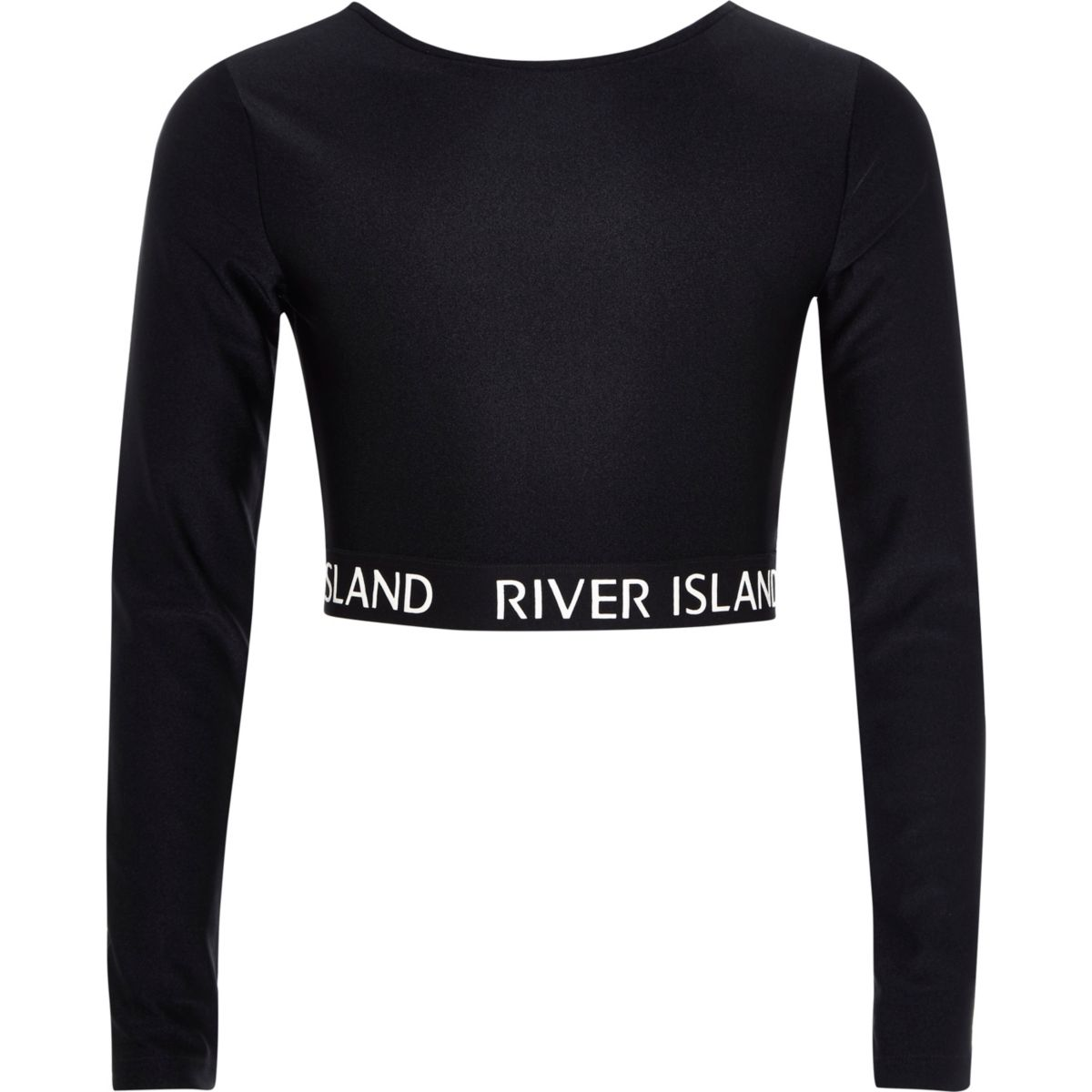 Girls RI Active black long sleeve crop top