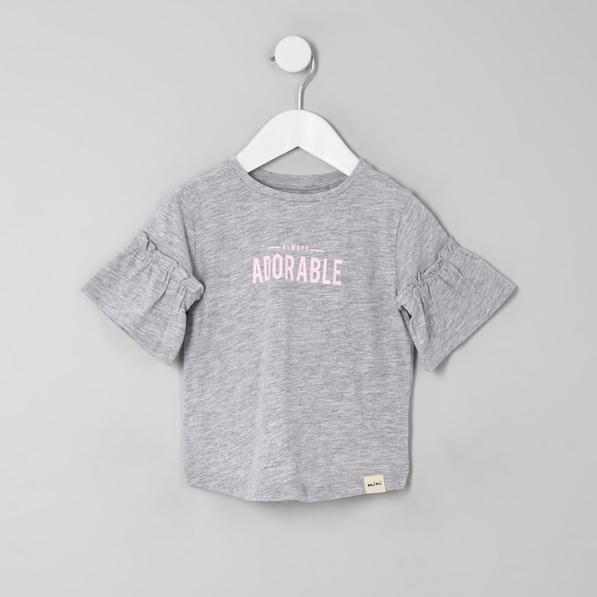 Mini girls grey 'Always adorable' T-shirt