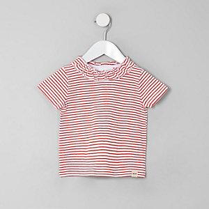 T-shirt rayé rouge à volants pour mini fille