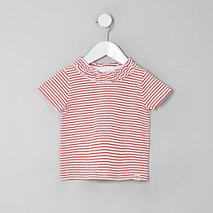 Mini - Rood gestreept T-shirt met ruches voor meisjes