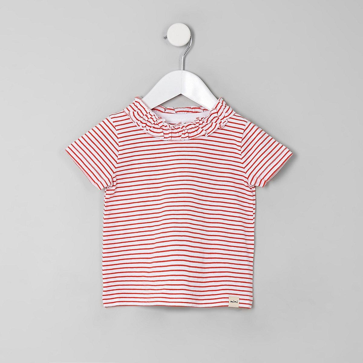 Mini girls red stripe ruffle T-shirt