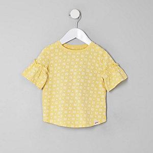 T-shirt jaune à logo RI pour mini fille