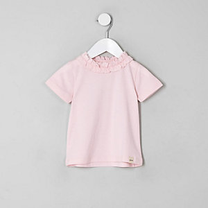 T-shirt rose à volants pour mini fille