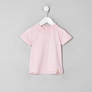 Mini - Roze T-shirt met ruches voor meisjes