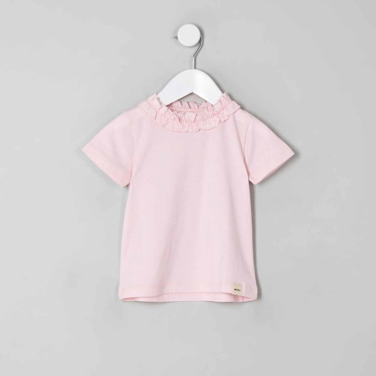 Mini girls pink ruffle T-shirt