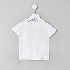 Mini - Wit T-shirt met ruches voor meisjes