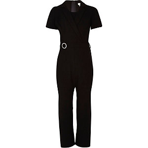 Girls black rhinestone tux jumpsuit