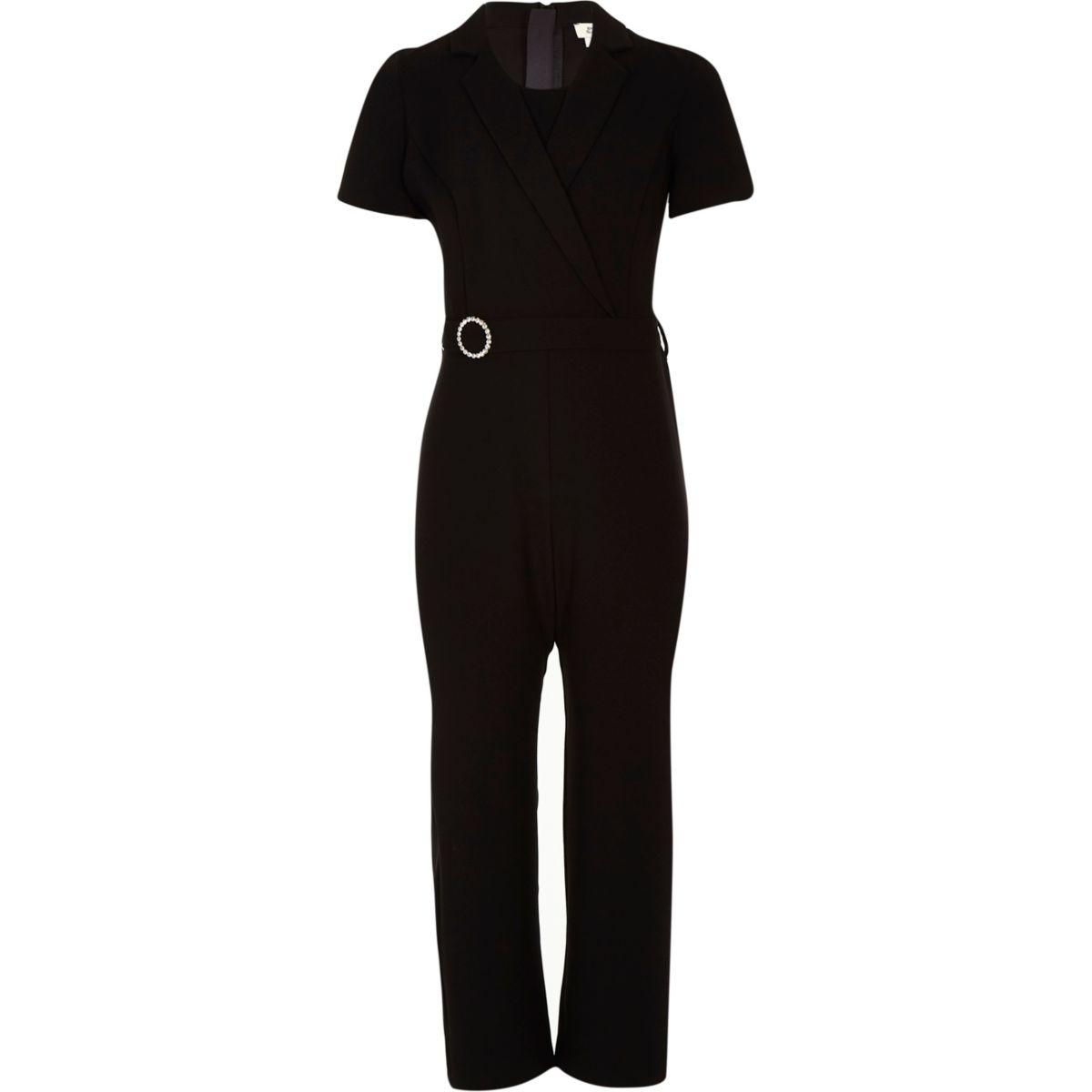 Girls black rhinestone tux jumpsuit