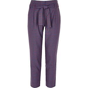 Pantalon fuselé à carreaux violet pour fille
