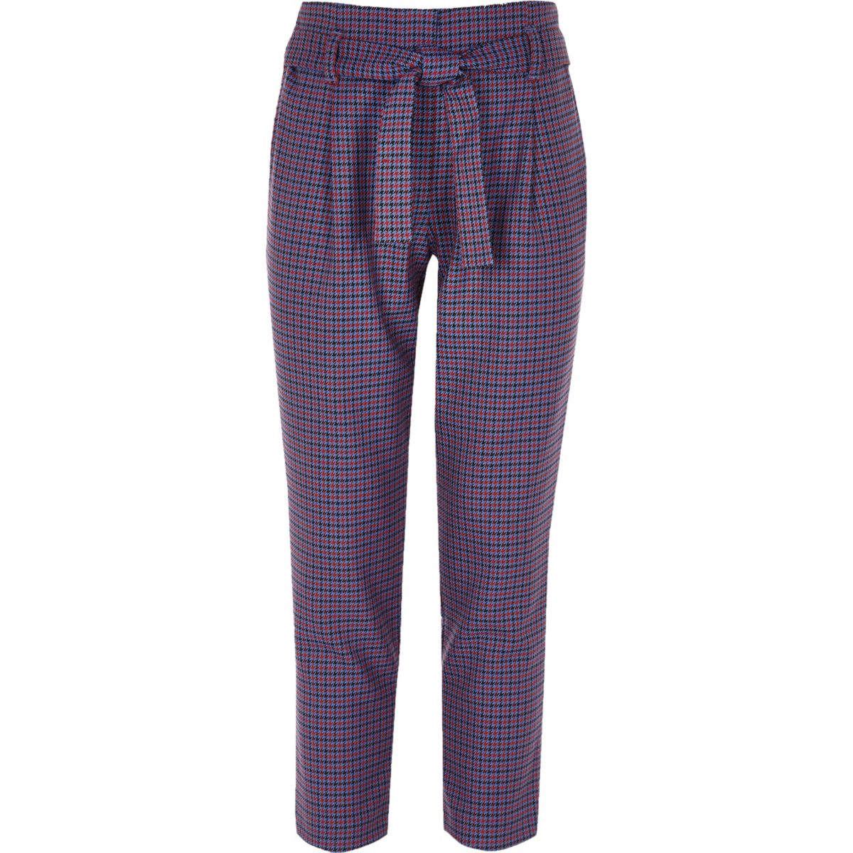 Girls purple check tapered pants