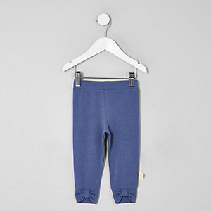 Mini girls navy bow front leggings